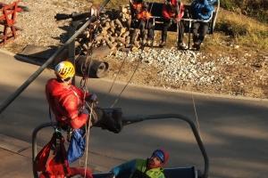 Nácvik evakuácie lanovky